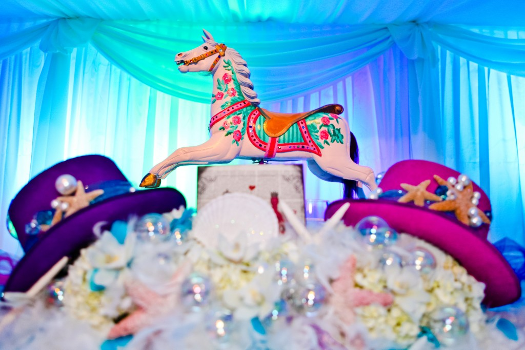Whimical Seafoam Circus Table Centerpiece